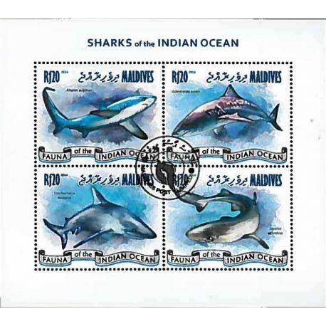 Timbres thèmatiques Maldives Requins Oblitérés