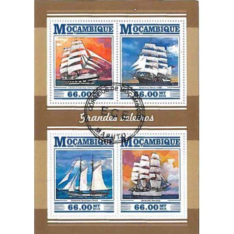 Timbres thèmatiques Mozambique Bateaux voiliers Oblitérés