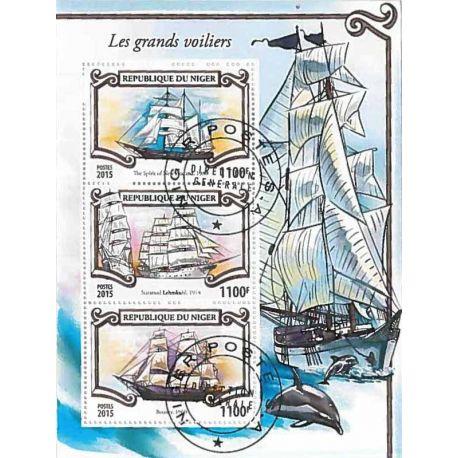 Timbres thèmatiques Niger Bateaux voiliers Oblitérés