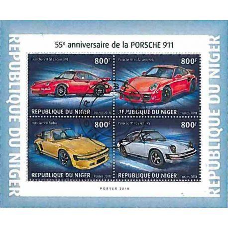 Timbres thèmatiques Niger Voitures Porsche Oblitérés