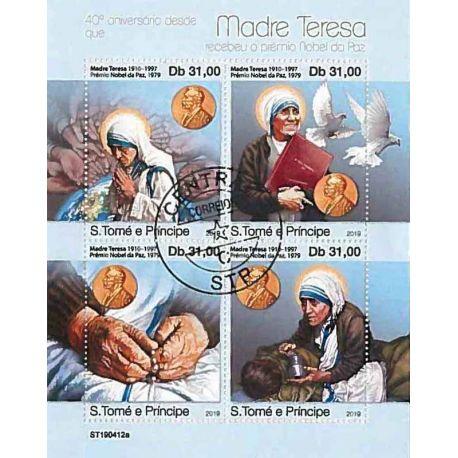 Timbres thèmatiques Saint Thomas Et Prince Mère Térésa Oblitérés