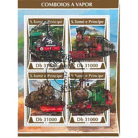 Timbres thèmatiques Saint Thomas Et Prince Trains Oblitérés