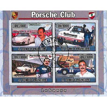 Timbres thèmatiques Saint Thomas Et Prince Voitures Porsche Oblitérés