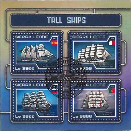 Timbres thèmatiques Sierra Leone Bateaux voiliers Oblitérés
