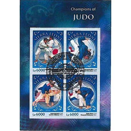 Timbres thèmatiques Sierra Leone Judo Oblitérés