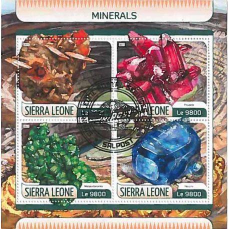 Timbres thèmatiques Sierra Leone Mineraux Oblitérés