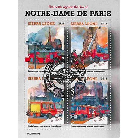 Timbres thèmatiques Sierra Leone Notre Dame de Paris Oblitérés
