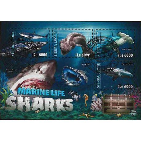 Timbres thèmatiques Sierra Leone Requins Oblitérés