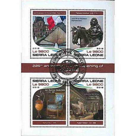 Timbres thèmatiques Sierra Leone Tableaux musée du louvre Oblitérés