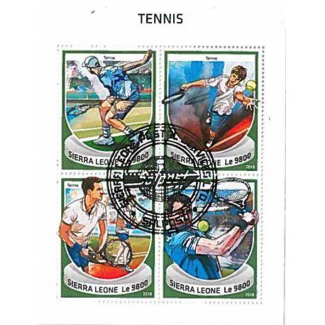 Timbres thèmatiques Sierra Leone Tennis Oblitérés