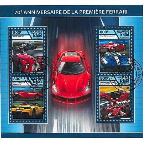Timbres thèmatiques Tchad Voitures Ferrari Oblitérés