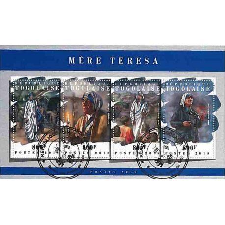 Timbres thèmatiques Togo Mère Térésa Oblitérés