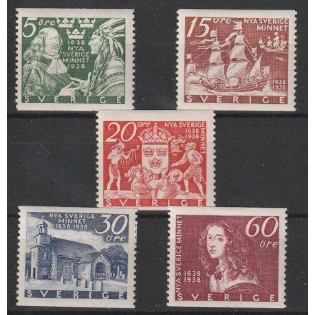 Timbre collection Suède N° Yvert et Tellier 249/253 Neuf avec charnière