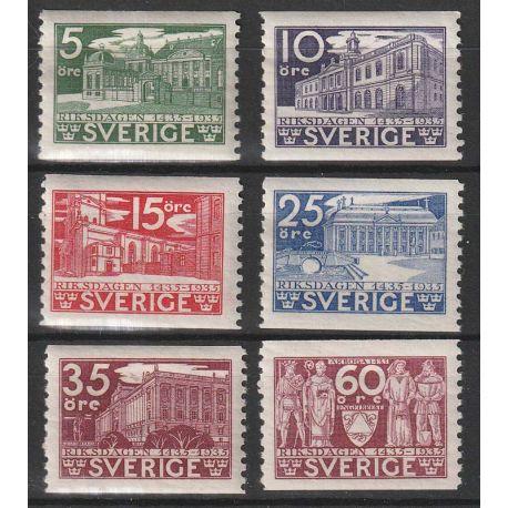 Timbre collection Suède N° Yvert et Tellier 229/234 Neuf avec charnière