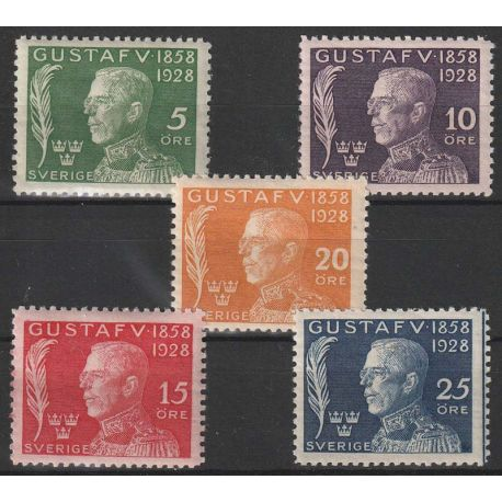 Timbre collection Suède N° Yvert et Tellier 206/210 Neuf avec charnière
