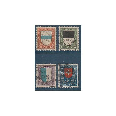 Timbre collection Suisse N° Yvert et Tellier 188/191 Oblitéré