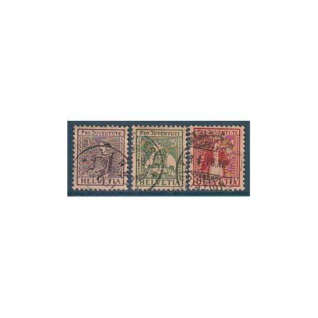 Timbre collection Suisse N° Yvert et Tellier 154/156 Oblitéré