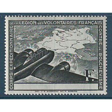 Timbre collection France LVF N° Yvert et Tellier 2a sans légende Neuf sans charnière