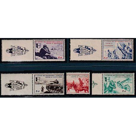 Timbre collection France LVF N° Yvert et Tellier 6/10 avec vignette Neuf sans charnière