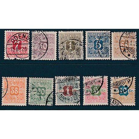 Timbre collection Danemark N° Yvert et Tellier 1/10 Oblitéré