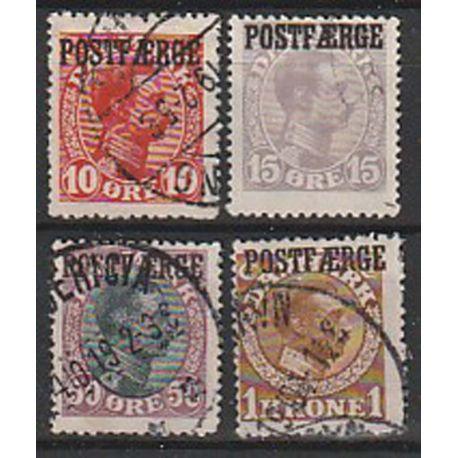 Timbre collection Danemark N° Yvert et Tellier 117/120 Oblitéré