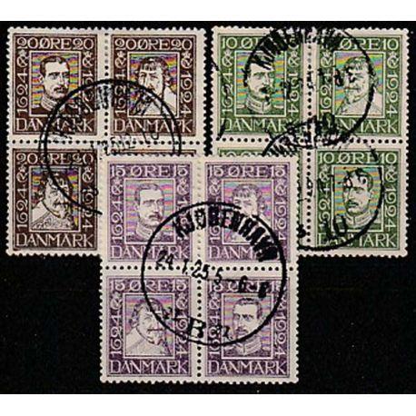 Timbre collection Danemark N° Yvert et Tellier 153/164 en bloc de 4 Oblitéré