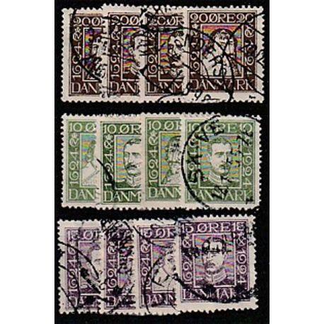 Timbre collection Danemark N° Yvert et Tellier 153/164 Oblitéré