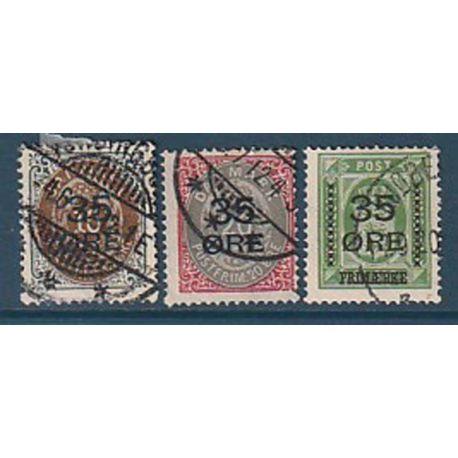 Timbre collection Danemark N° Yvert et Tellier 62/64 Oblitéré