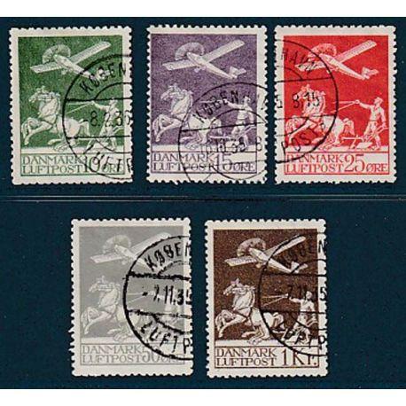 Timbre collection Danemark N° Yvert et Tellier PA 1/5 Oblitéré