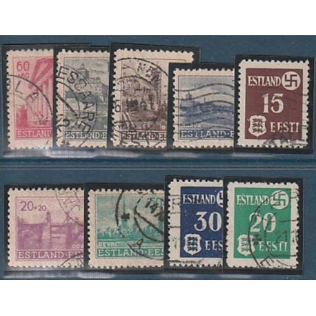 Timbre collection Estonie N° Yvert et Tellier 1/9 Oblitéré