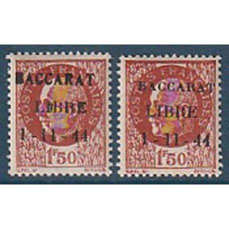 Timbre collection France Libération Baccarat N° Yvert et Tellier 6 Neuf avec charnière