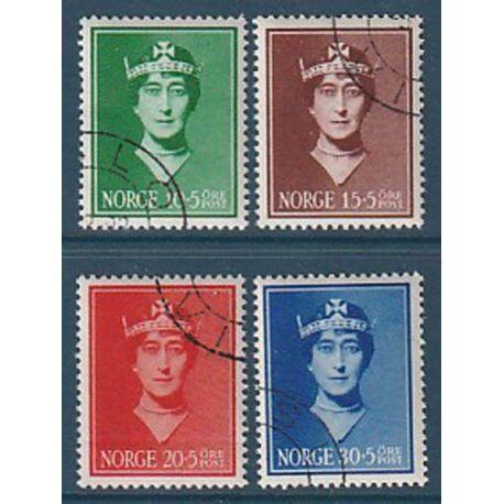 Timbre collection Norvège N° Yvert et Tellier 195/198 Oblitéré