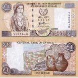 Banknoten Sammlung Zypern Pick Nummer 60 - 1 Livre 1997
