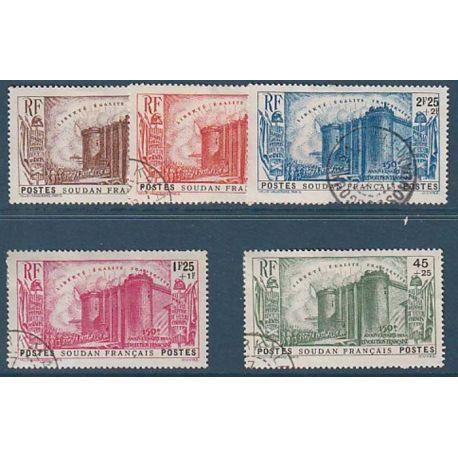Timbre collection Soudan N° Yvert et Tellier 105/109 Oblitéré