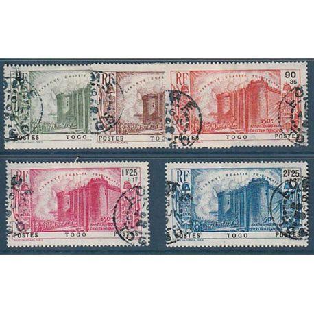Timbre collection Togo N° Yvert et Tellier 177/181 Oblitéré