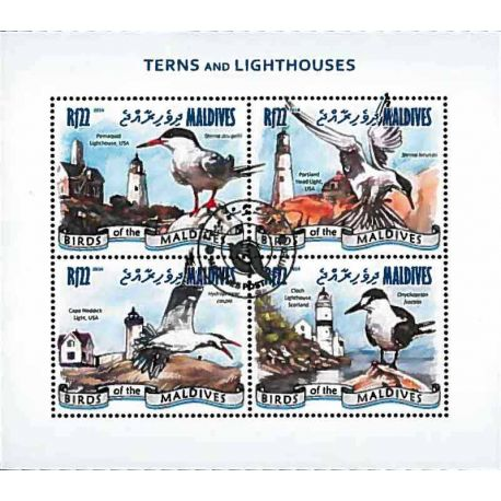 Bloc de 4 timbres Oiseaux