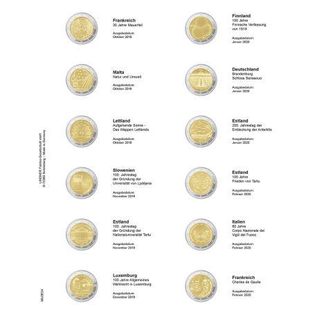 Feuille pour pièces 2 € commémoratives: Octobre 2019 - février 2020