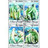 Bloc de 4 timbres Ours Blanc