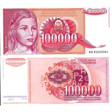 Billet de banque collection Yougoslavie - PK N° 97 - 100 000 Dinara