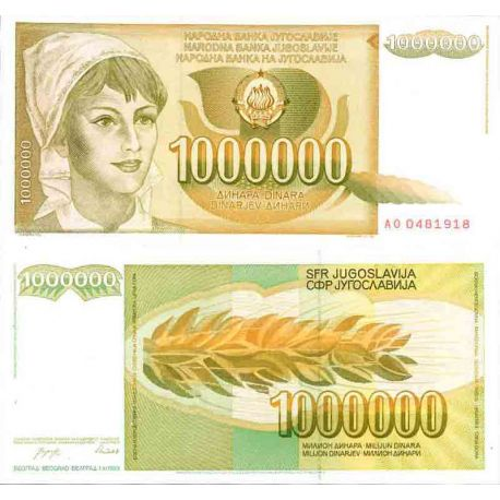 Billet de banque collection Yougoslavie - PK N° 99 - 1 Millions Dinara