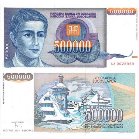 Billet de banque collection Yougoslavie - PK N° 119 - 500 000 Dinara