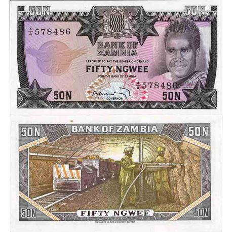 Billet de banque collection Zambie - PK N° 14 - 50 Kwacha