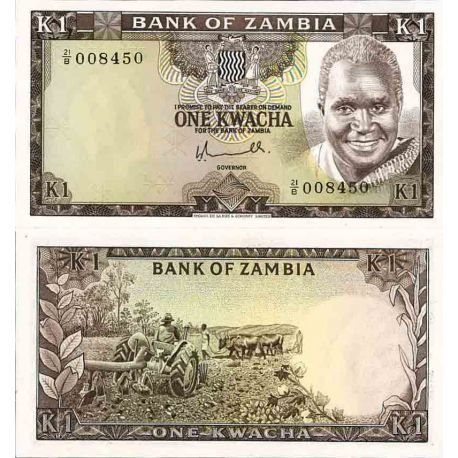 Billet de banque collection Zambie - PK N° 19 - 1 Kwacha