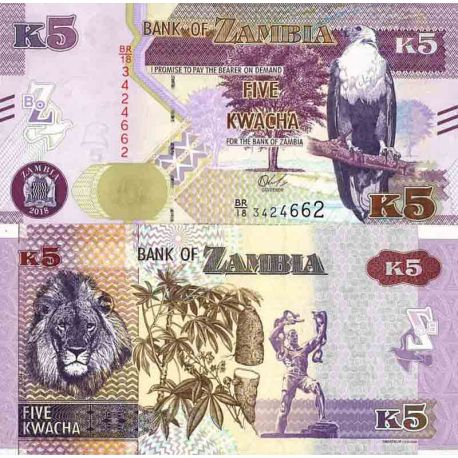 Billet de banque collection Zambie - PK N° 57 - 5 Kwacha