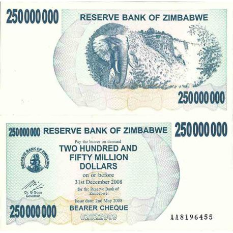 Billet de banque collection Zimbabwe - PK N° 59 - 250 Millions Dollars