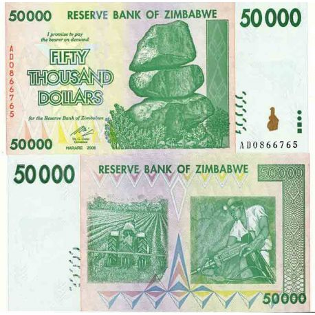 Billet de banque collection Zimbabwe - PK N° 74 - 50 000 Dollars