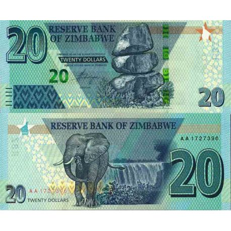 Billet de banque collection Zimbabwe - PK N° 999 - 20 Dollars