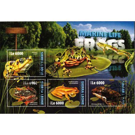 Bloc de 4 timbres Grenouilles