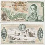 Banknote collection Colombia Pick number 406 - 5 Peso 1961