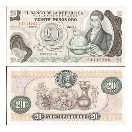 Billets de collection Billets banque Colombie Pk N° 409 - 20 Pesos Billets de Colombie 3,50 €